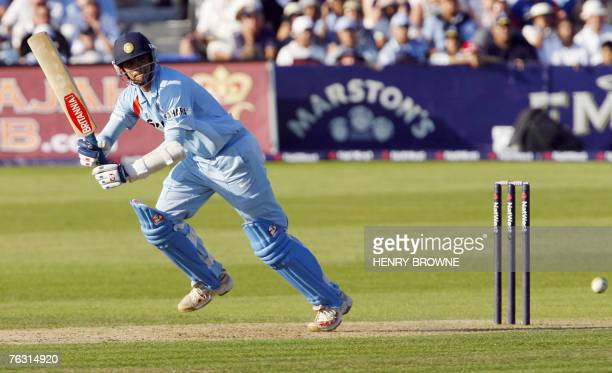 Indian Cricketer Rahul Dravid plays a shot during the second NatWest One Day Interntional match at the County Ground in Bristol in southwest England...
