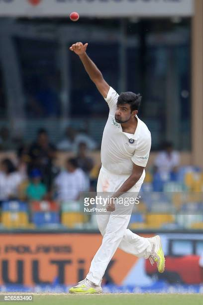 Indian cricketer Ravichandran Ashwin bowls during the 3rd Day's play in the 2nd Test match between Sri Lanka and India at the SSC international...