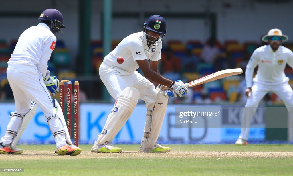 Indian cricketer Ravichandran Ashwin(L) is bowled out as Sri Lankan wicket keeper Niroshan Dickwella(L) looks on during the 2nd Day's play in the 2nd Test match between Sri Lanka and India at the SSC international cricket stadium at the capital city of Colombo, Sri Lanka on Friday 04 August 2017.