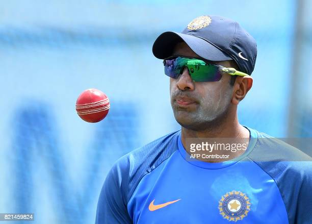 Indian cricketer Ravichandran Ashwin takes part in a practice session at Galle International Cricket Stadium in Galle on July 24 2017 India will play...