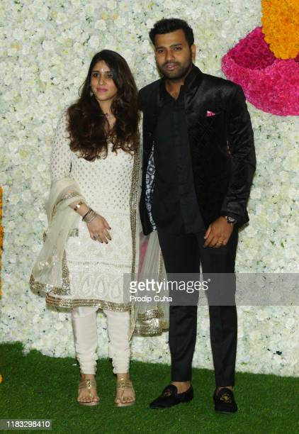 Indian Cricketer Rohit Sharma and his wife Ritika Sajdeh attend the Diwali Bash for Mumbai Indian Cricket Team hosted by Nita Ambani and Mukesh...
