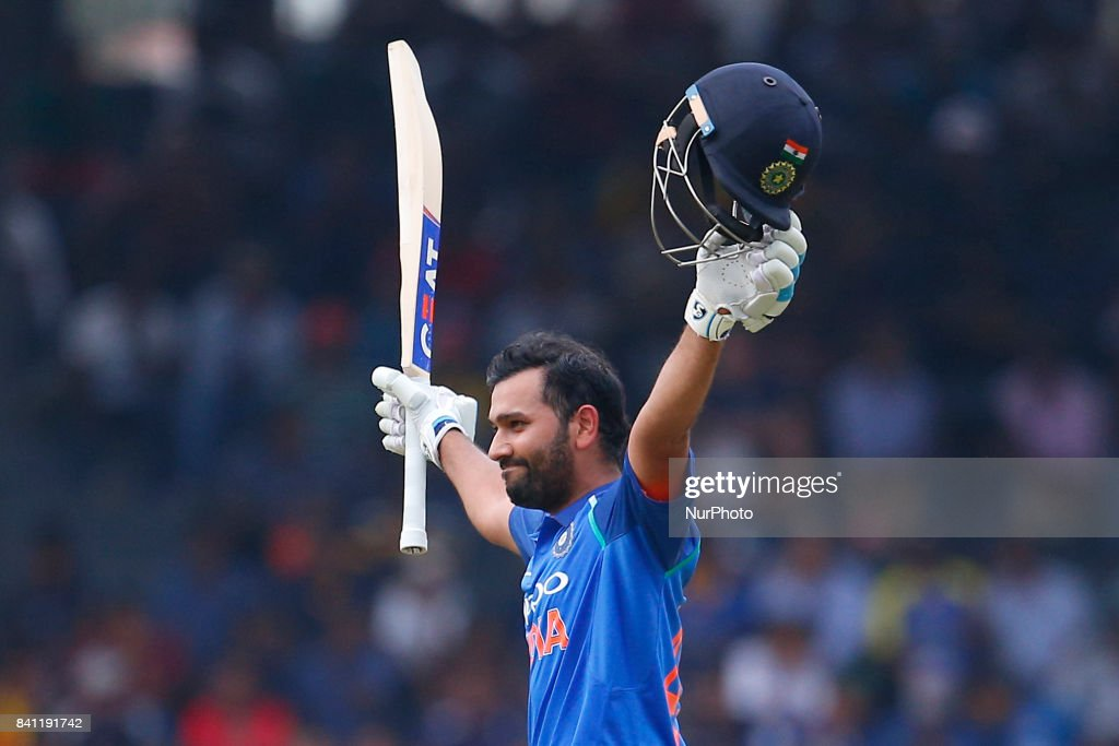 Indian cricketer Rohit Sharma celebrates after scoring 100 runs during the 4th One Day International cricket match between Sri Lanka and India at the R Premadasa international cricket stadium at Colombo, Sri Lanka on Thursday 31 August 2017.