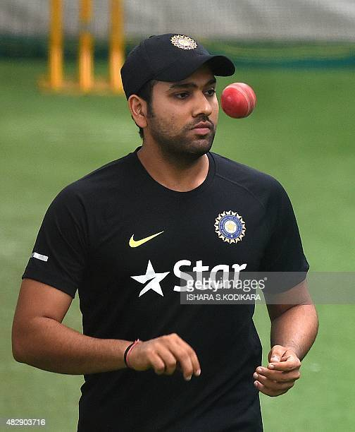 Indian cricketer Rohit Sharma tosses a ball during a net practice session at the National Cricket Club in Colombo on August 4 2015 India will play...