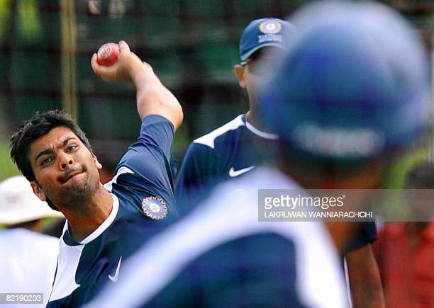Indian cricketer RP Singh delivers a ball during a practice session at The P Saravanamuttu Stadium in Colombo on August 6 2008 The Indian cricket...