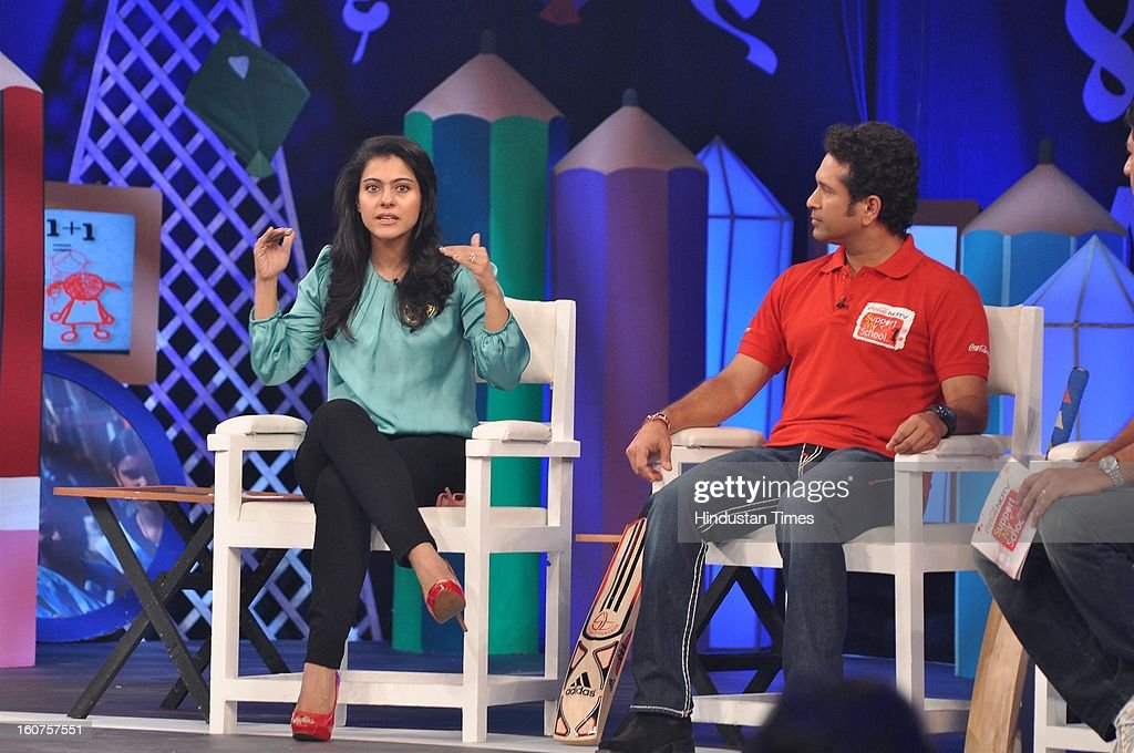 Indian cricketer Sachin Tendulkar and bollywood actor Kajol Devgn at NDTV Coca Cola 'Support my School' Telethon at Yash Raj Studio on February 3...