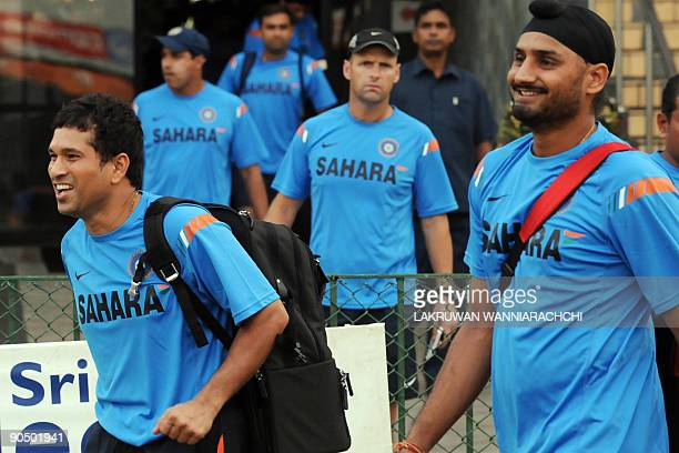 Indian cricketer Sachin Tendulkar Harbhajan Singh and teammates arrive for a practice session at The R Premadasa Stadium in Colombo on September 9...