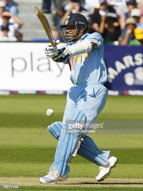 Indian cricketer Sachin Tendulkar plays a shot against England during the second NatWest One Day International match at the County Ground in Bristol...