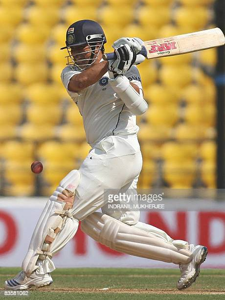 Indian cricketer Sachin Tendulkar plays a shot on way to his century on the first day of the fourth and final Test match of the Gavaskar-Border...