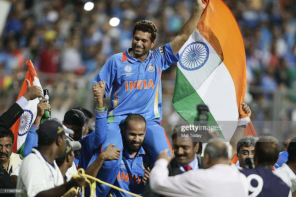 ICC cricket world cup final match between India and Sri Lanka at Mumbai. : News Photo