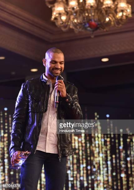 Indian Cricketer Shikhar Dhawan during an award function night organised by Bag Films Network at Taj Palace Hotel on November 27 2017 in New Delhi...