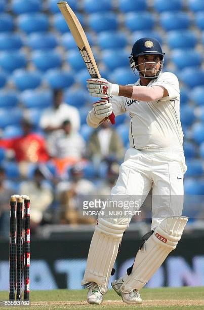 Indian cricketer Sourav Ganguly plays a shot on the second day of the fourth and final Test match of The Gavaskar-Border Trophy 2008 series between...