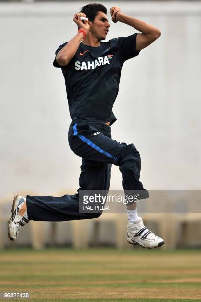 Indian cricketer Sudeep Tyagi bowls at the nets during a practice session in Nagpur on February 5 2010 The first of a twomatch Test series against...
