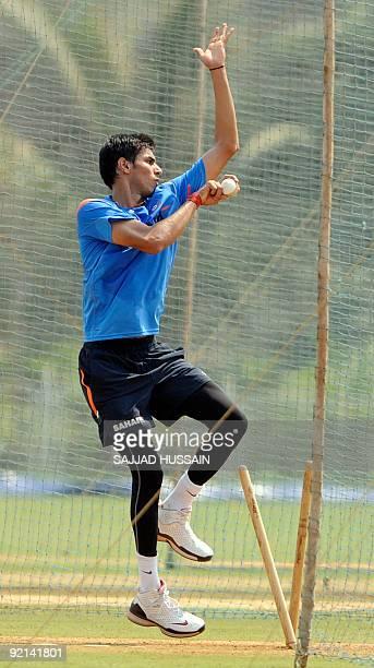 Indian cricketer Sudeep Tyagi takes part in a threeday preparatory camp in Mumbai on October 21 2009 Australia will play seven One Day International...
