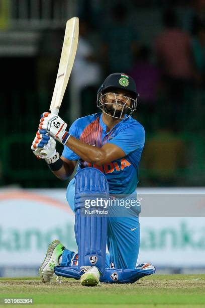 Indian cricketer Suresh Raina plays a shot during the 5th Twenty20 cricket match of NIDAHAS Trophy between Bangladesh and India at R Premadasa...