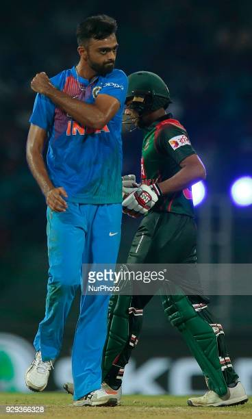 Indian cricketer Vijay Shankar celebrates after taking a wicket during the 2nd T20 cricket match of NIDAHAS Trophy between India and Bangladesh at R...