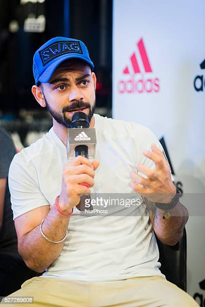 Indian cricketer Virat Kohli at an event in Bangalore India ahead of the IPL match in the city on Sunday May 1 2016 Kohli represents Royal...