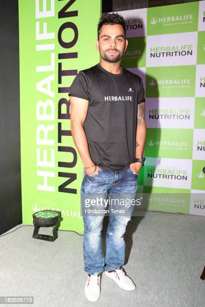 Indian cricketer Virat Kohli at press conference of Herballife at Le Meridien on October 1 2013 in Mumbai India Virat Kohli will be endorsing...