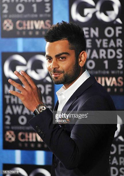 Indian cricketer Virat Kohli attends the GO India 5th anniversary Men of the year Awards ceremony in Mumbai on September 29 2013 AFP PHOTO/ STR