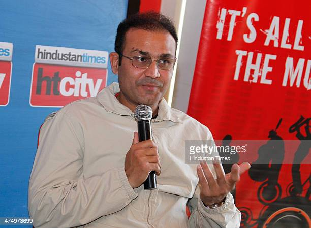Indian cricketer Virender Sehwag during an interview at HT House on February 25 2014 in New Delhi India