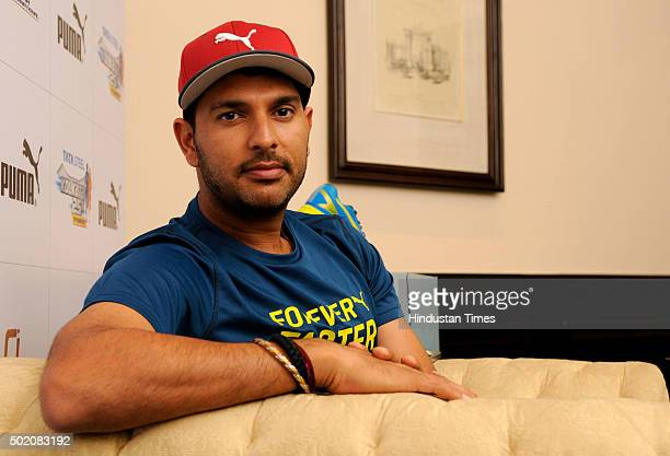 Indian Cricketer Yuvraj Singh addresses media personnel during a press conference at a city hotel on December 20 2015 in Kolkata India Yuvraj who...