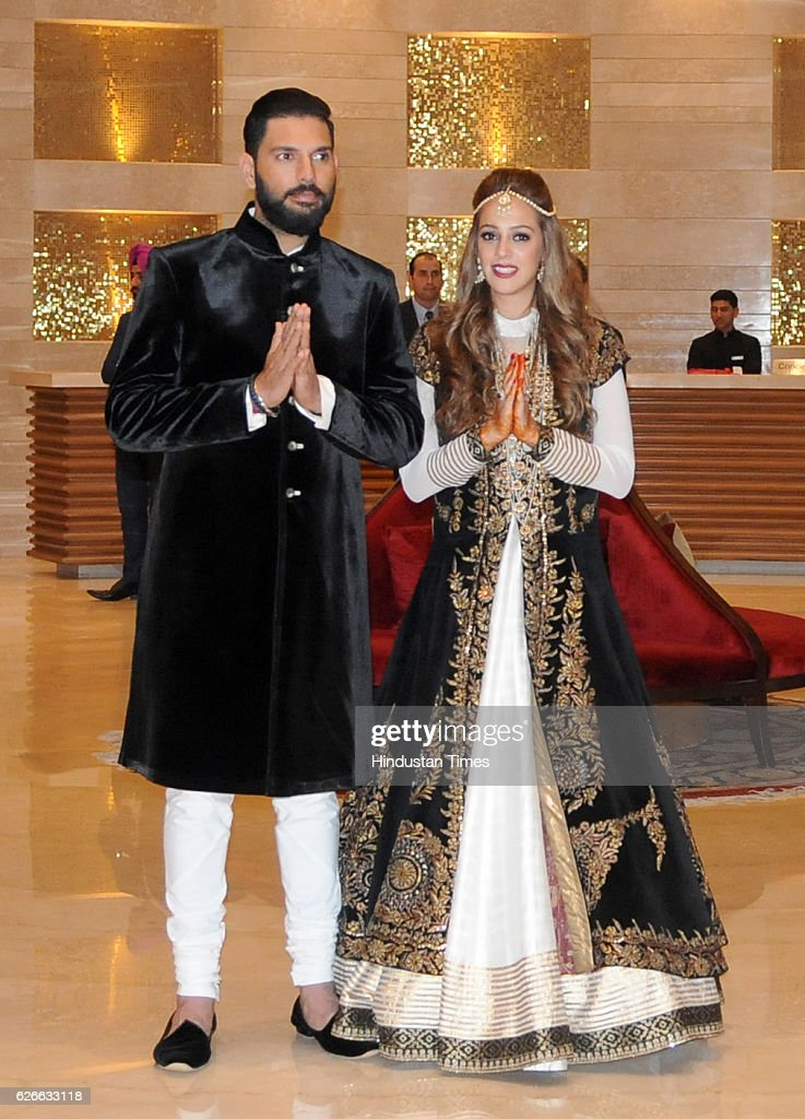 Indian Cricketer Yuvraj Singh And Actress Hazel Keech Pose For Photograph Before Their Pre Wedding Sangeet