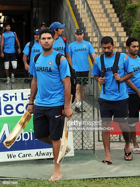 Indian cricketer Yuvraj Singh and teammates arrive for a practice session at The R Premadasa Stadium in Colombo on September 9 2009 India New Zealand...