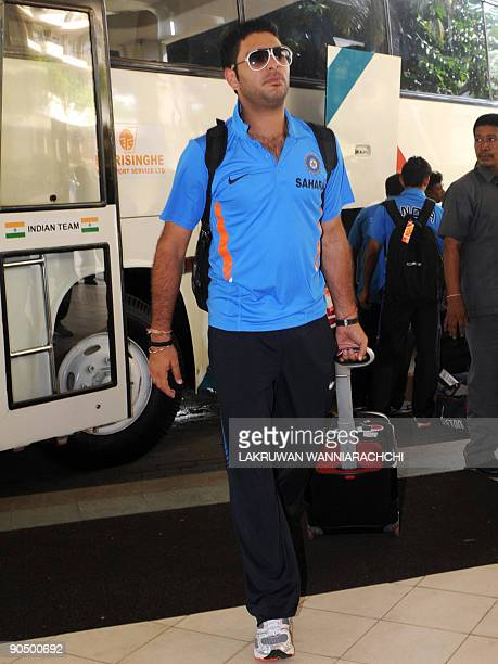 Indian cricketer Yuvraj Singh arrives with his team in Colombo on September 9 2009 India New Zealand and Sri Lanka began a oneday international...