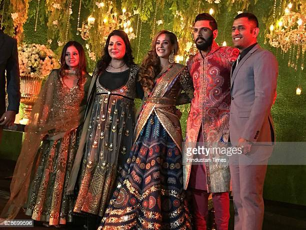 Indian Cricketer Yuvraj Singh with his wife and Bollywood actor Hazel Keech with Cricketer MS Dhoni and his wife Sakshi Dhoni during their wedding...