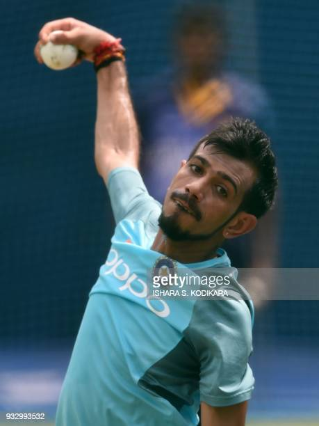 Indian cricketer Yuzvendra Chahal ball during a practice session at the RPremadasa Stadium in Colombo on March 17 2018 India is playing the final...