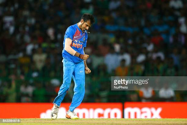 Indian cricketer Yuzvendra Chahal celebrates during the 1st and only T20 cricket match between Sri Lanka and India at R Premadasa International...