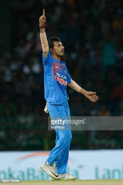 Indian cricketer Yuzvendra Chahal celebrates during the final Twenty20 cricket match of NIDAHAS Trophy between Bangladesh and India at R Premadasa...