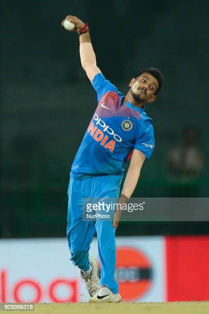 Indian cricketer Yuzvendra Chahal delivers a ball during the 2nd T20 cricket match of NIDAHAS Trophy between India and Bangladesh at R Premadasa...