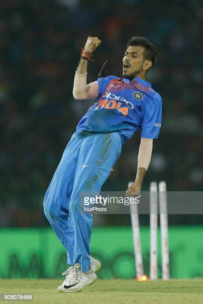 Indian cricketer Yuzvendra Chahal reacts after taking a wicket during the 1st T20 cricket match of NIDAHAS Trophy between Sri Lanka and India at R...