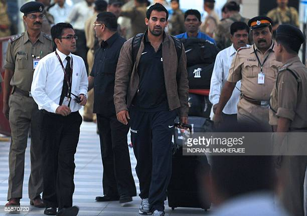 Indian cricketer Zaheer Khan walks out of the city airport after arriving from New Zealand in Mumbai late April 8 2009 The Indian cricket team being...