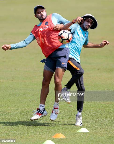 Indian cricketers Manish Pandey and Yuzvendra Chahal are seen during a practice session ahead of their opening match of NIDAHAS trophya trination...