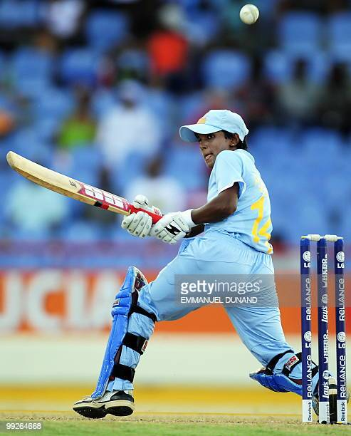 Indian cricketers Poonam Raul plays a shot during the ICC Women�s World Cup Twenty20 semi final match between Australia and India at the Beausjour...