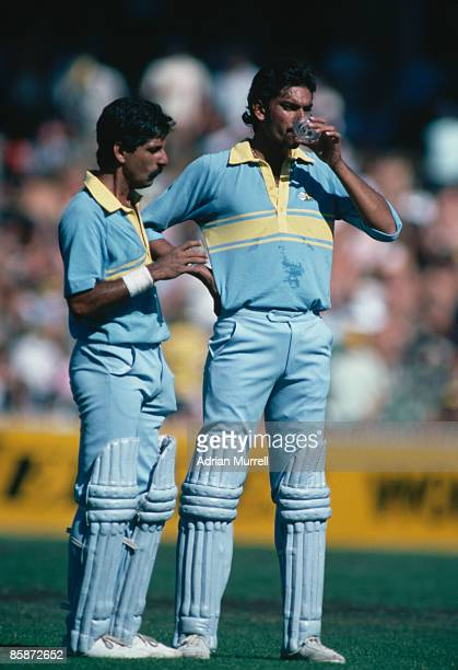 Indian cricketers Ravi Shastri and Krishnamachari Srikkanth during a match against Pakistan at Melbourne during the World Championship of Cricket One...