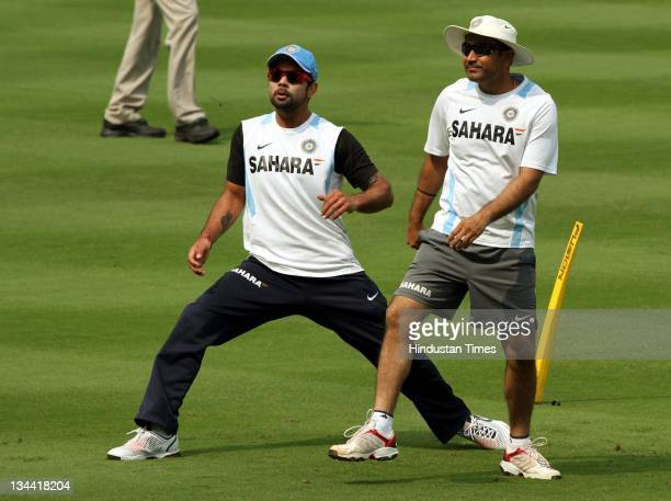 Indian cricketers Virat Kohli and Virendra Sehwag during a practice session ahead of 2nd ODI between India and West Indies at Dr YS Rajasekhara Reddy...
