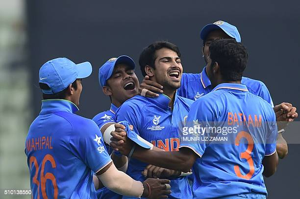 Indian crikceter Mayank Dagar reacts after the dismissal of the West Indies cricketer Jyd Goolie during the under19s World Cup cricket final between...