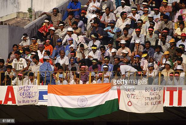 Indian crowds during the first day of the First One Day Tour match between India and South Africa played at Eden Gardens in Calcutta India on...