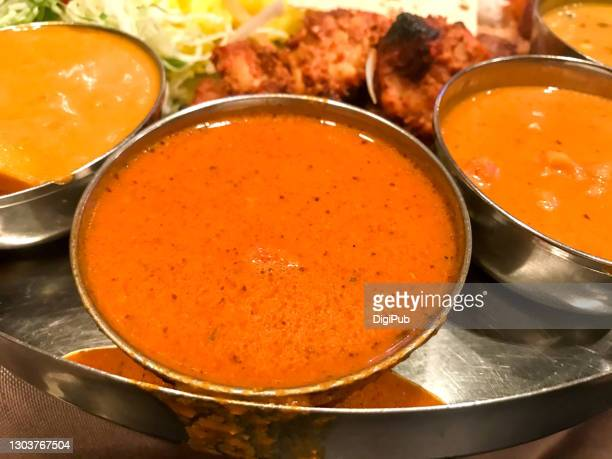 indian curries: butter chicken, lentil and egg - tikka masala stock pictures, royalty-free photos & images