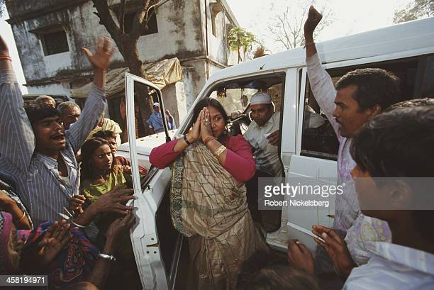 Indian dacoit and heroine of the low caste Phoolan Devi campaigns for election in Uttar Pradesh India 1998