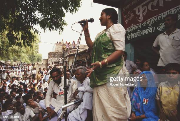 Indian dacoit Phoolan Devi addresses a low caste rally in Uttar Pradesh India 1996