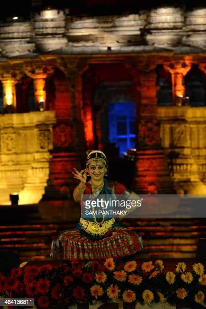 Indian dancer Mira Nigam Upadhaya performs the Bharat Natyam in front of the 1000 year old Surya Mandir or Sun Temple on the first day of a two day...