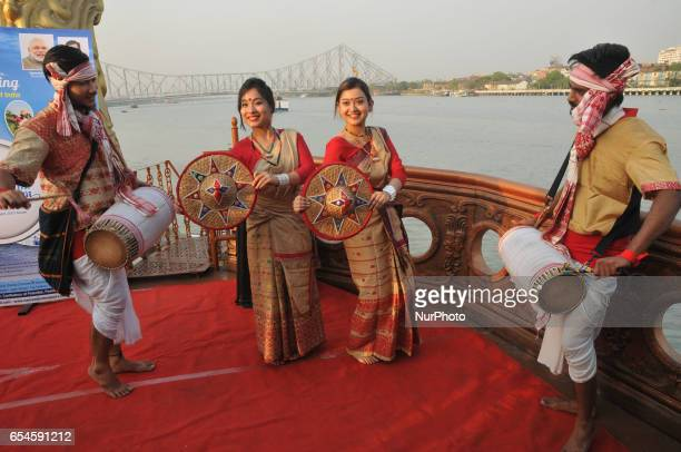 Indian Dancer perform Assamese Bihu dances at the Matsyakanya Cruise Ganga River and back side Howrah Bridge during Assam Government organized a meet...