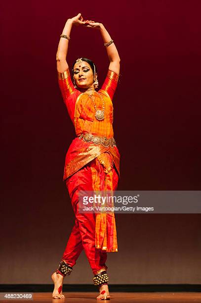 Indian dancer Vidhya Subramanian performs a dance in Bharata Natyam style during the World Music Institute's 'Dancing The Gods' series at New York...