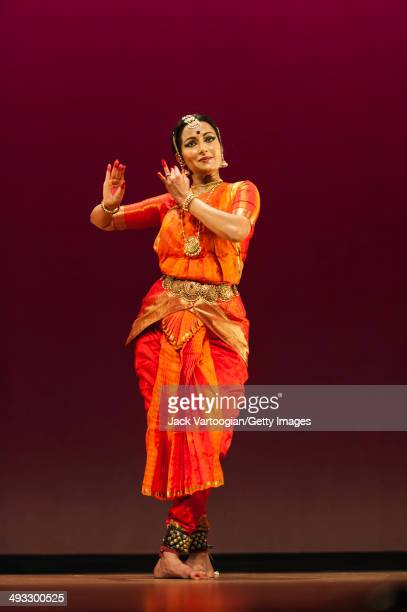 Indian dancer Vidhya Subramanian performs dances in Bharata Natyam style at a concert in the World Music Institute 'Dancing The Gods' series at New...