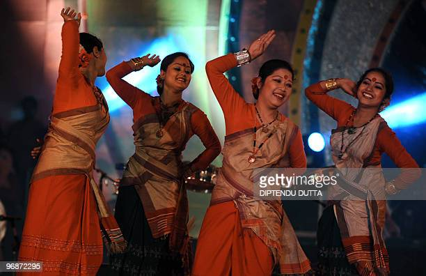 Indian dancers from the NorthEastern states of Assam perform the Bihu dance in Allahabad on February 19 2010 at the inaugral session of 'Triveni...