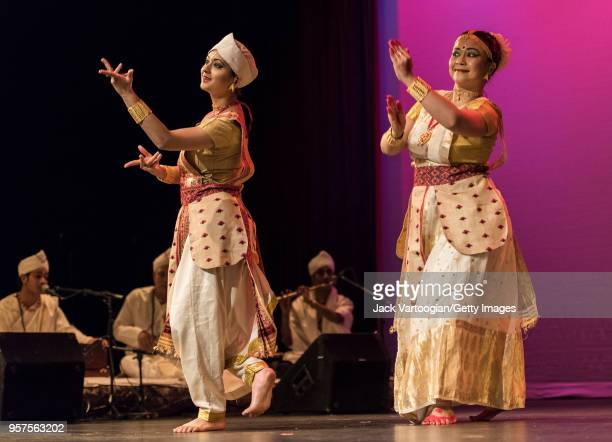 Indian dancers Madhushmita Bora and Prerona Bhuyan cofounders of the Philadelphiabased Sattriya Dance Company perform at a concert in the World Music...