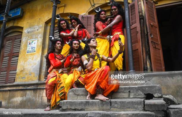 TOPSHOT Indian dancers of the lesbian gay bisexual and transgender community rehearse prior to their perfomance during the Rainbow carnival in...